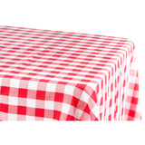 "Gingham Checkered Rectangular Polyester Tablecloth 60""x126"" - Red & White"