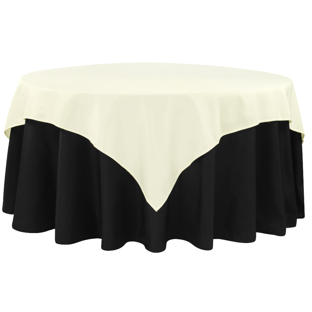 "Polyester Square 72"" Overlay/Tablecloth - Ivory"