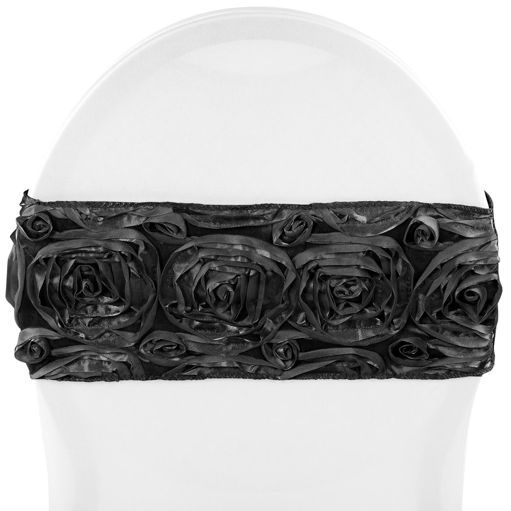Rosette Spandex Chair Sash Band - Black