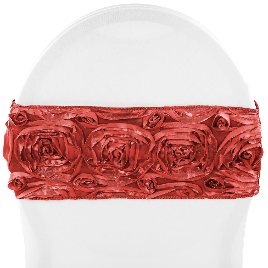 Rosette Spandex Chair Sash Band - Red