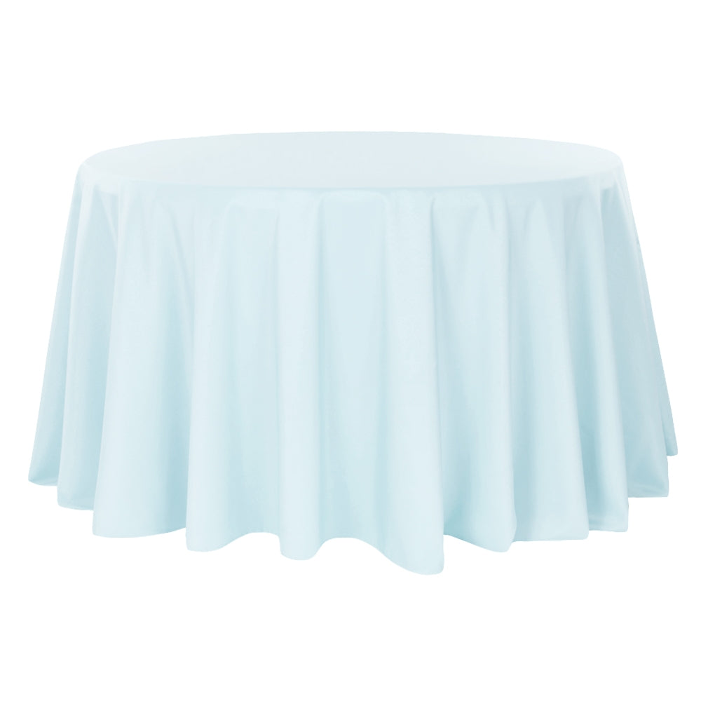 "Round Polyester 132"" Tablecloth - Baby Blue"