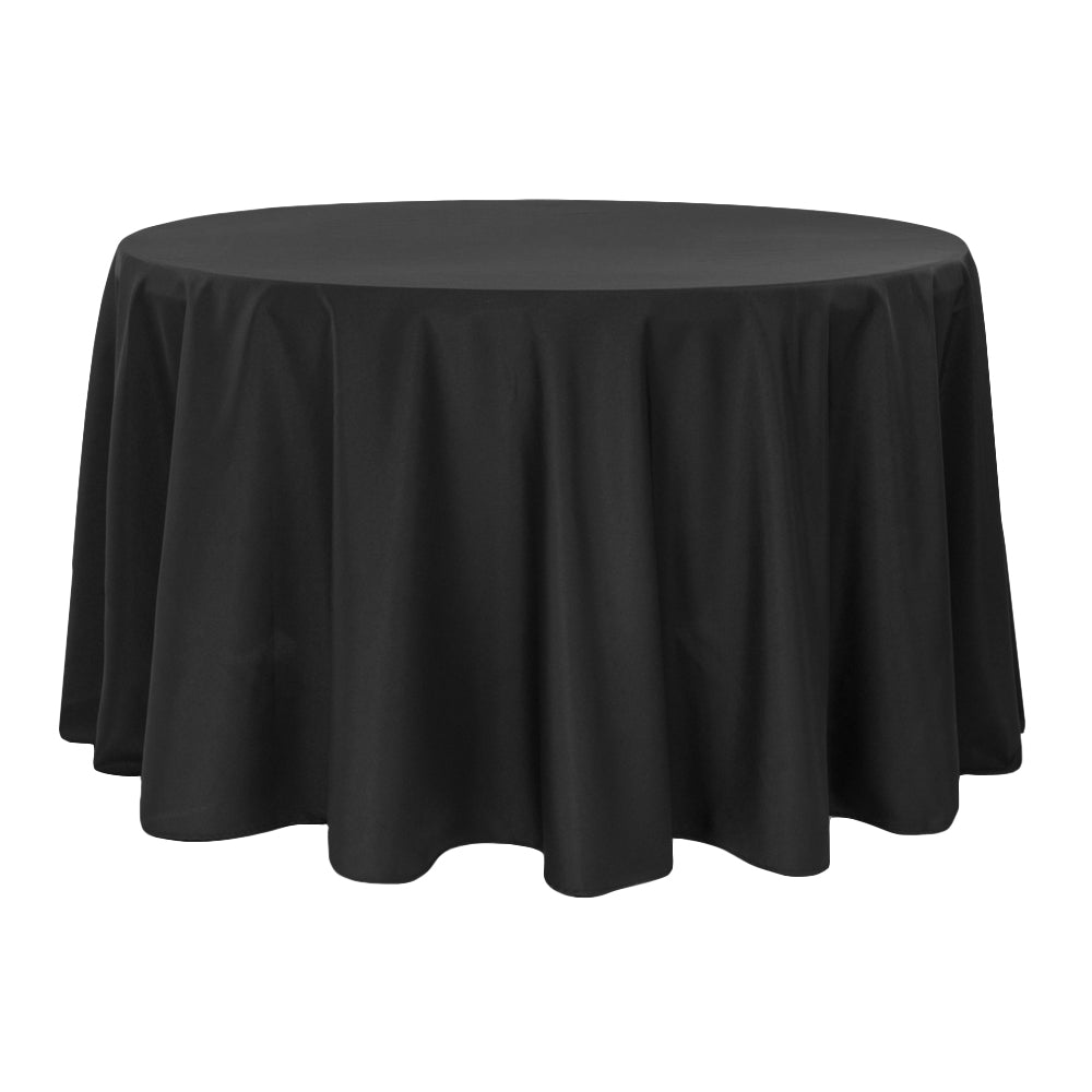 "Round Polyester 132"" Tablecloth - Black"