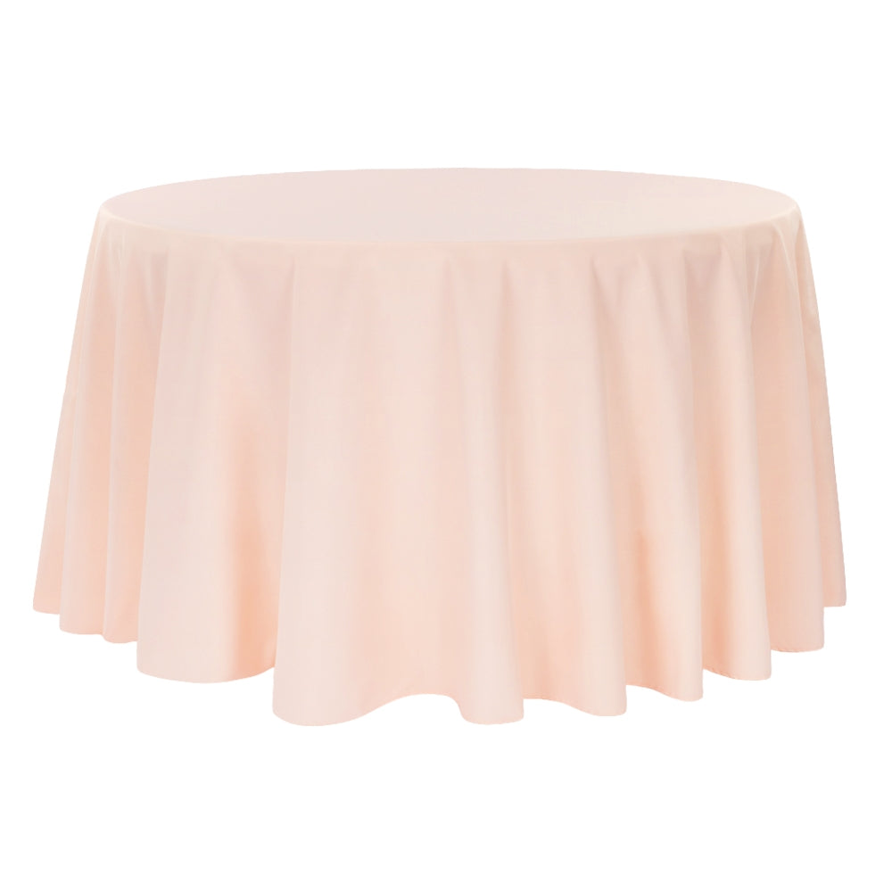 "Economy Polyester Tablecloth 108"" Round - Blush/Rose Gold"