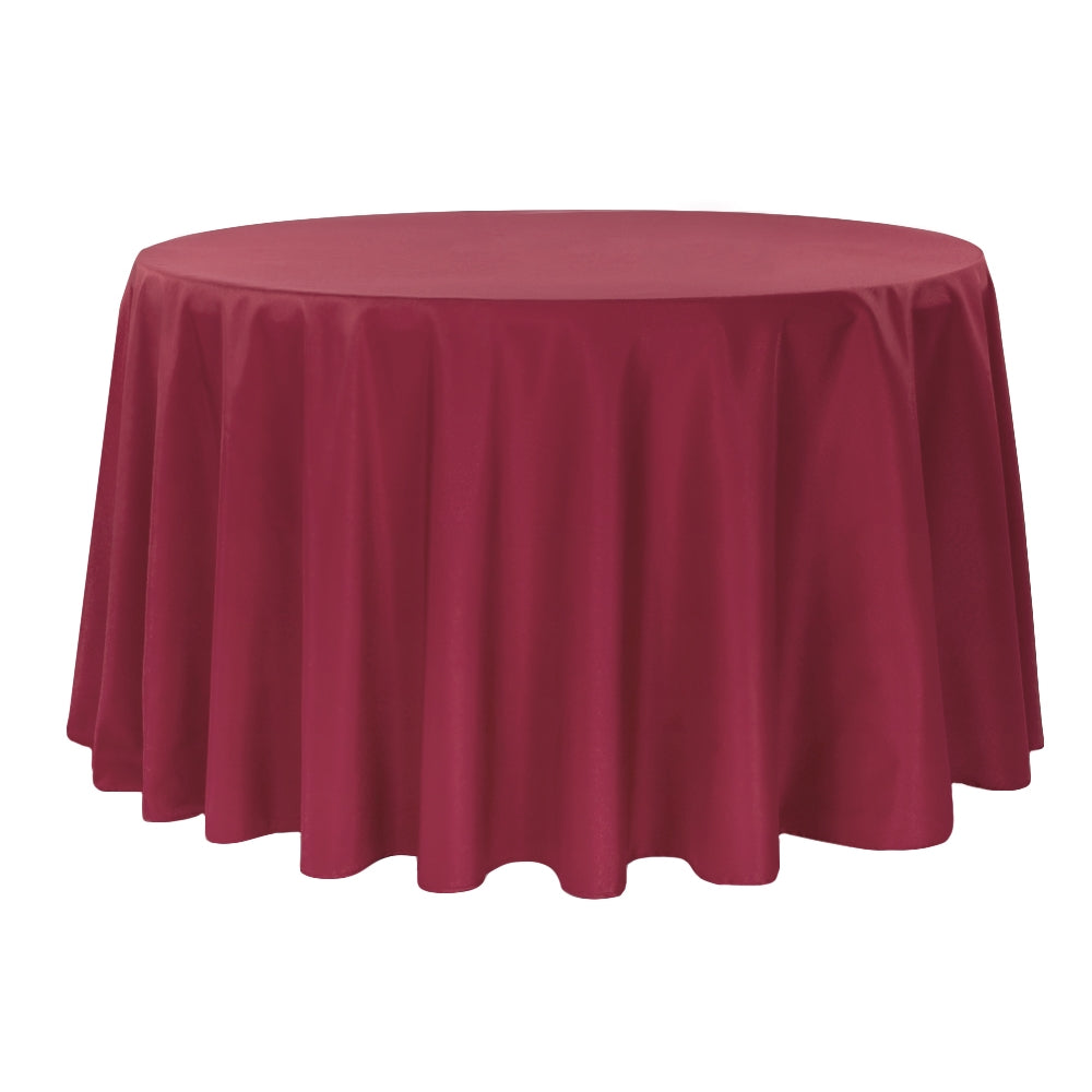 "Round Polyester 132"" Tablecloth - Burgundy"