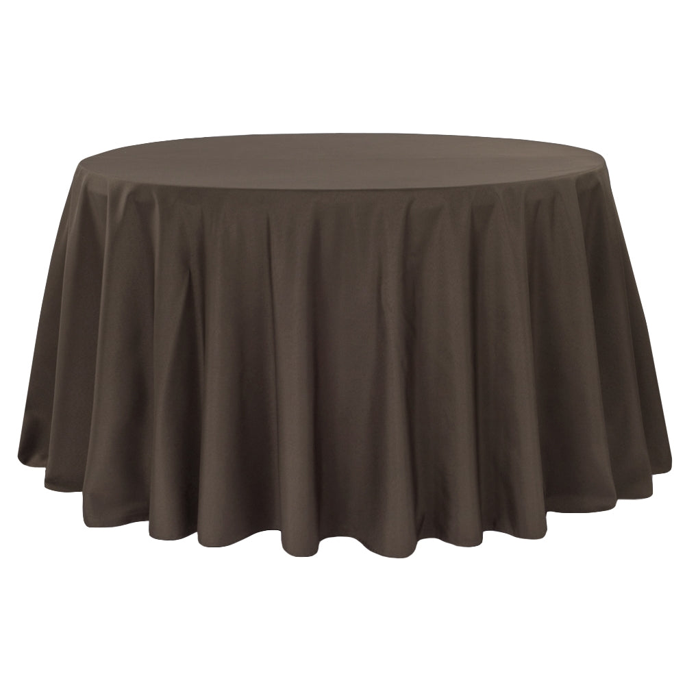 "Polyester 108"" Round Tablecloth - Chocolate Brown"