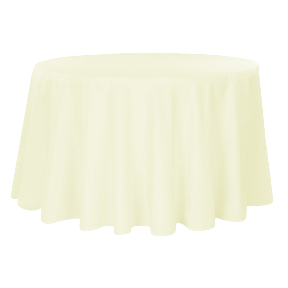 "Round Polyester 132"" Tablecloth - Ivory"