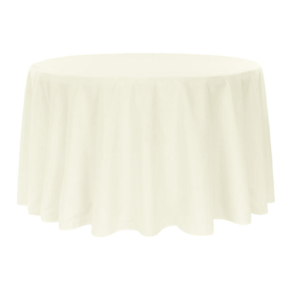 "Round Polyester 132"" Tablecloth - Light Ivory/Off White"