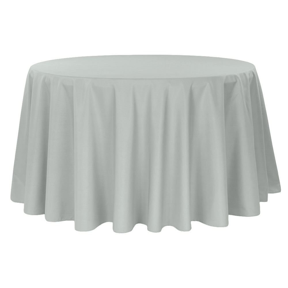 "Round Polyester 132"" Tablecloth - Gray/Silver"