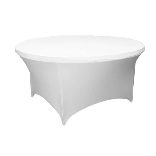 5FT Round Spandex Table Cover - White