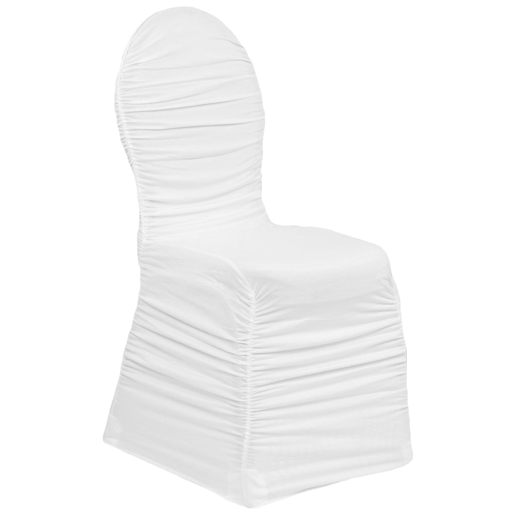 Marvelous Ruched Fashion Spandex Banquet Chair Cover White Inzonedesignstudio Interior Chair Design Inzonedesignstudiocom
