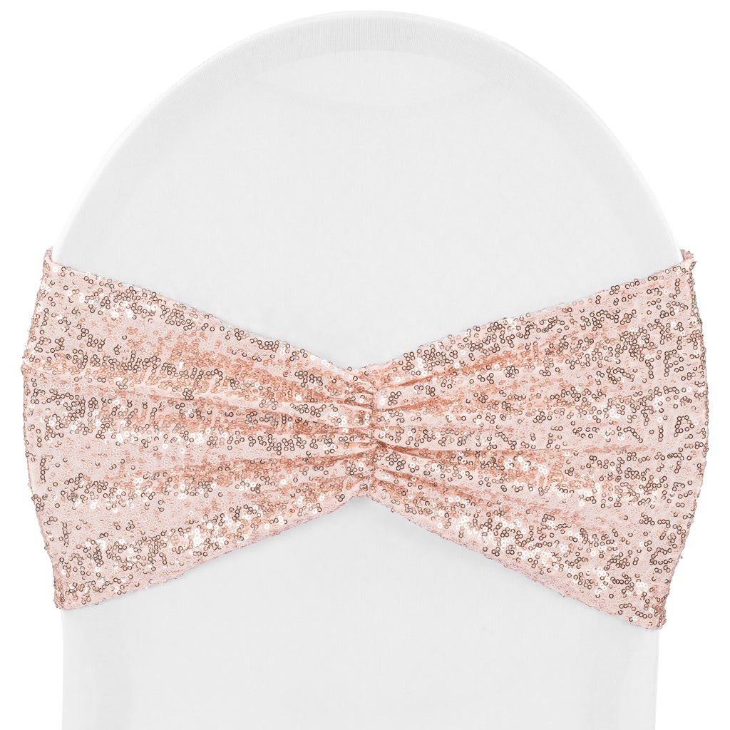 Glitz Ruffle Sequin Spandex Chair Band Sash - Blush/Rose Gold