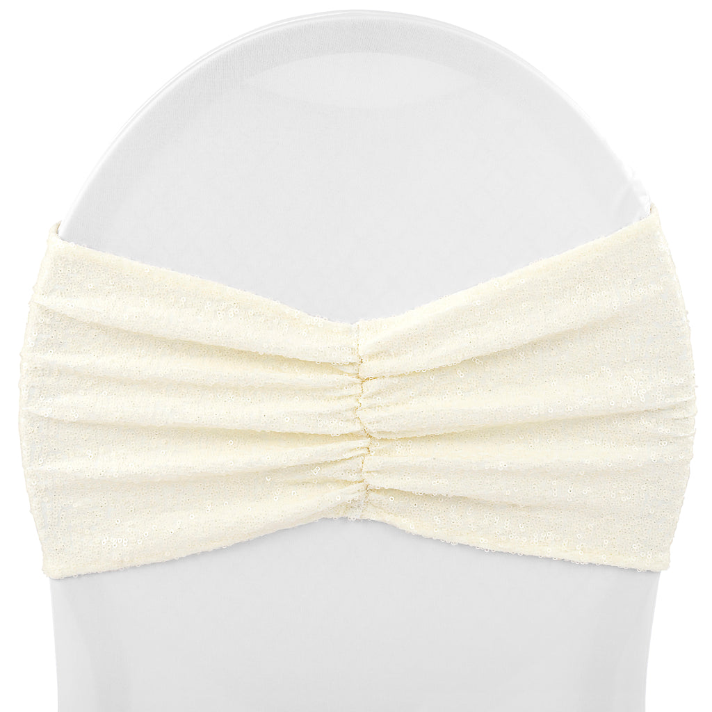 Glitz Ruffle Sequin Spandex Chair Band Sash - Ivory (new tone)