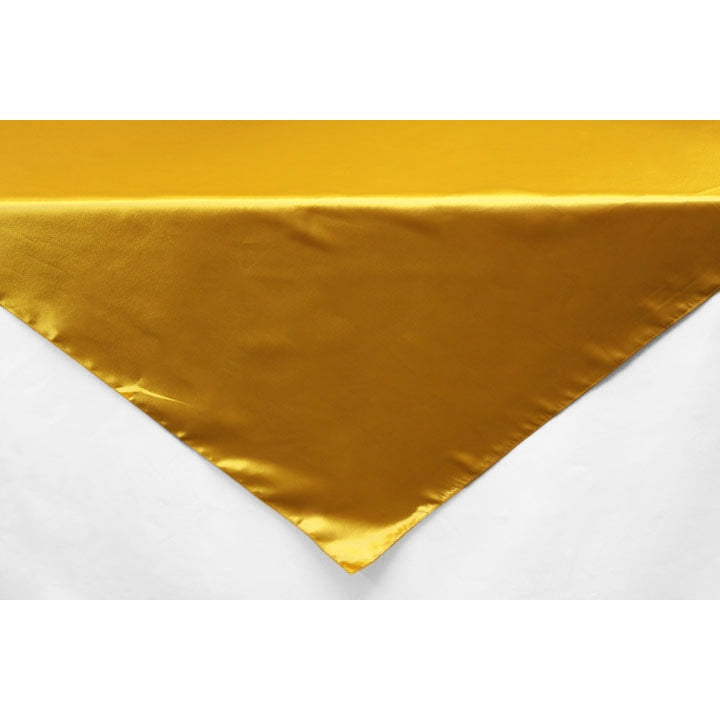 "Square 54"" Satin Table Overlay - Bright Gold"