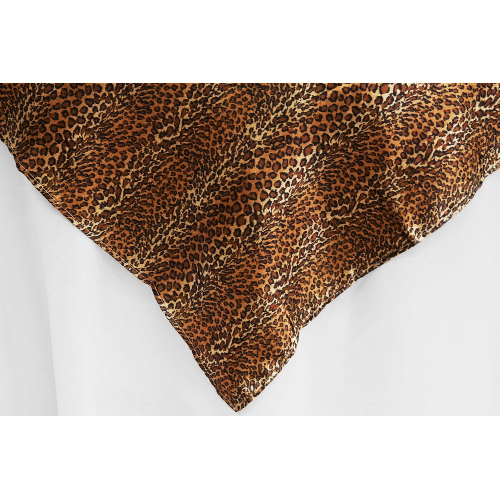 "Square 54"" Satin Table Overlay - Leopard Design"