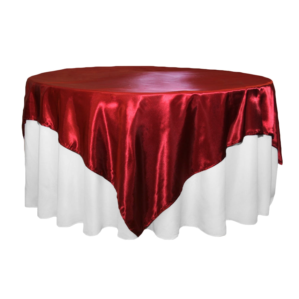 "Square 72"" Satin Table Overlay - Apple Red"