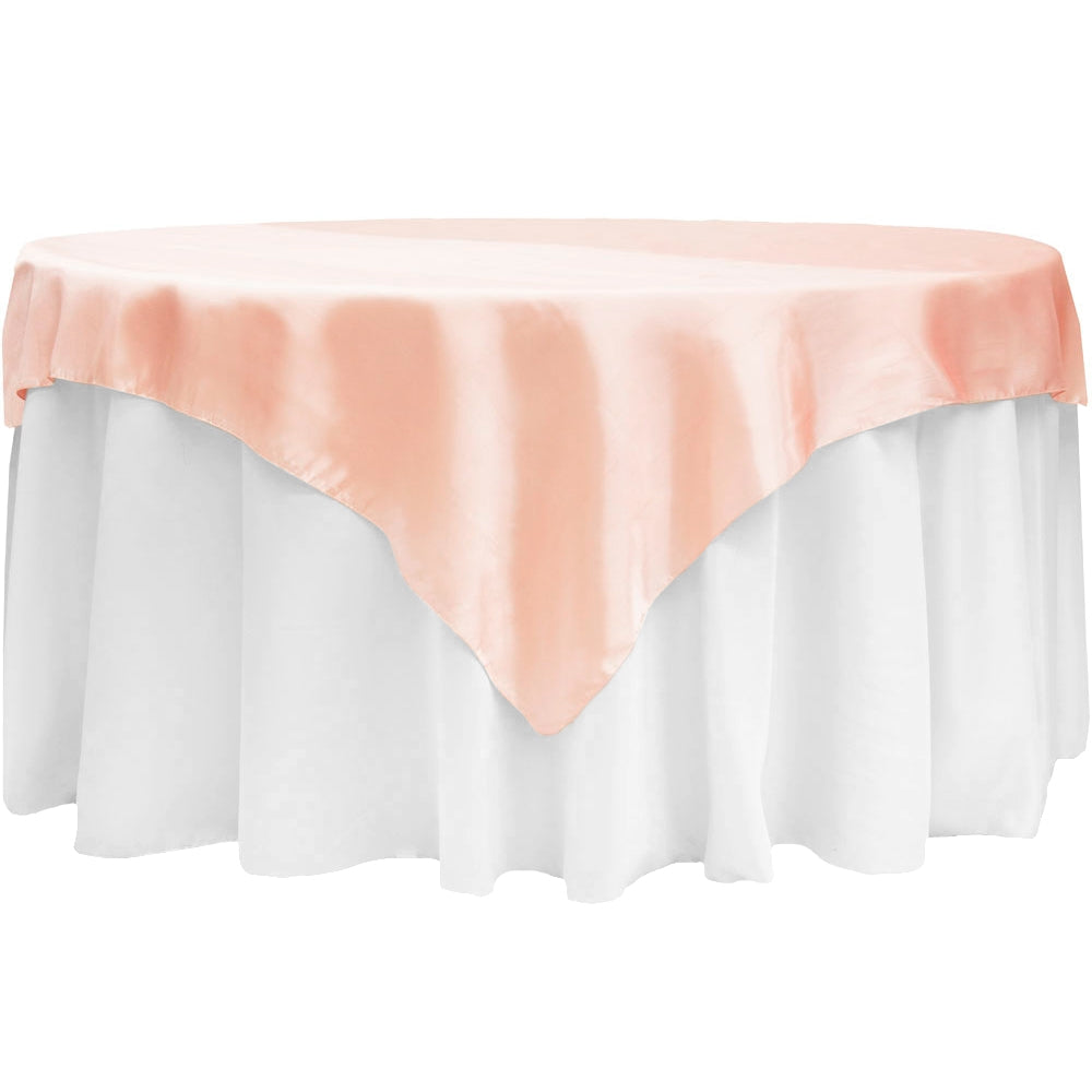 "Square 72"" Satin Table Overlay - Blush/Rose Gold"
