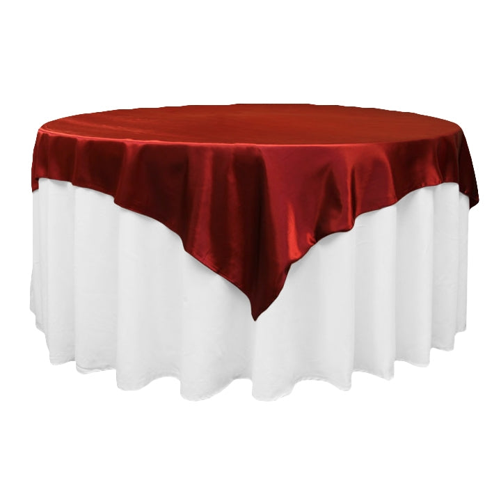 "Square 72"" Satin Table Overlay - Burgundy"