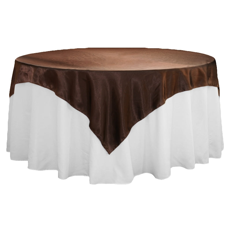 "Square 72"" Satin Table Overlay - Chocolate Brown"