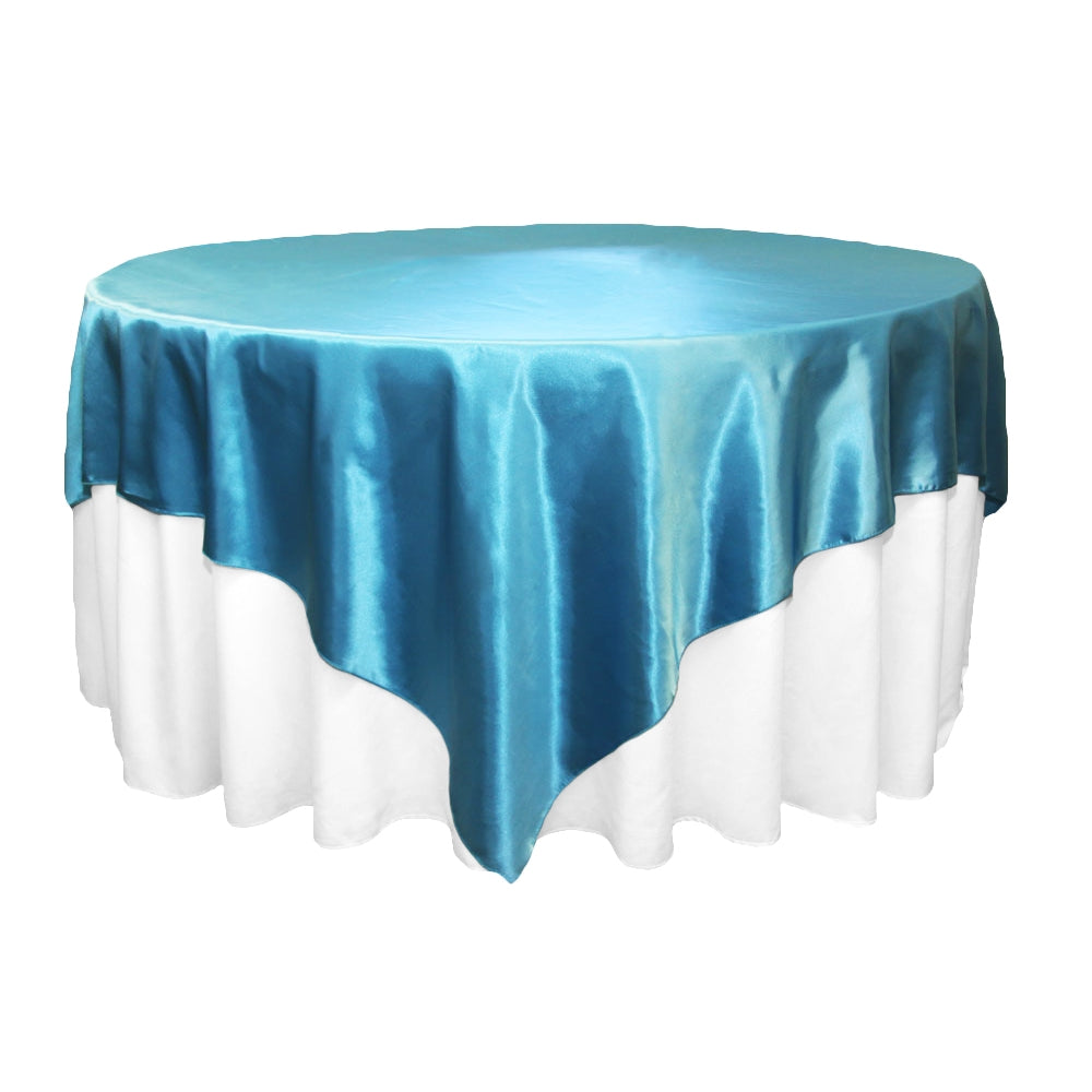 "Square 90""x90"" Satin Table Overlay - Aqua Blue"