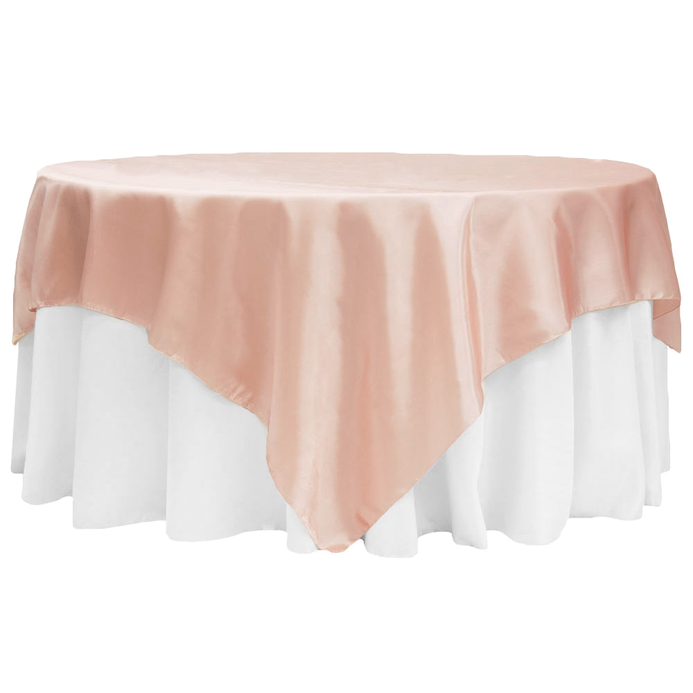 "Square 90""x90"" Satin Table Overlay - Blush/Rose Gold"