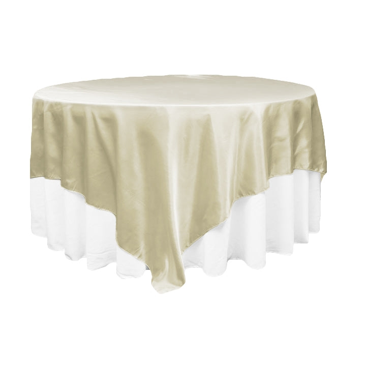 "Square 90""x90"" Satin Table Overlay - Ivory"