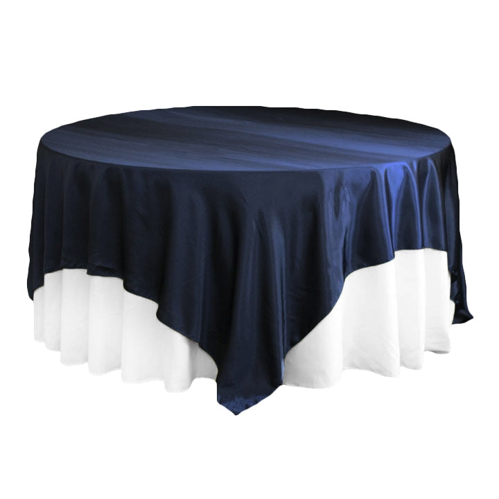 "Square 90""x90"" Satin Table Overlay - Navy Blue"