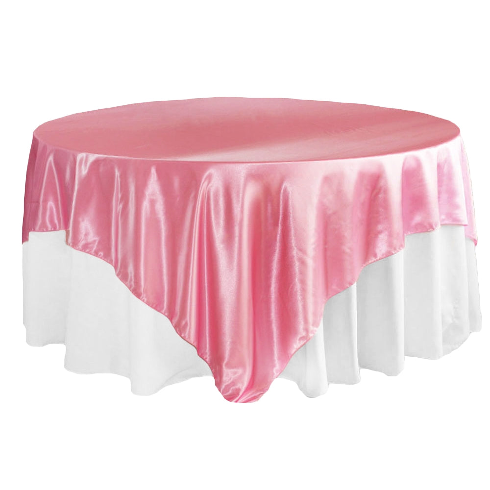 "Square 90""x90"" Satin Table Overlay - Medium Pink"