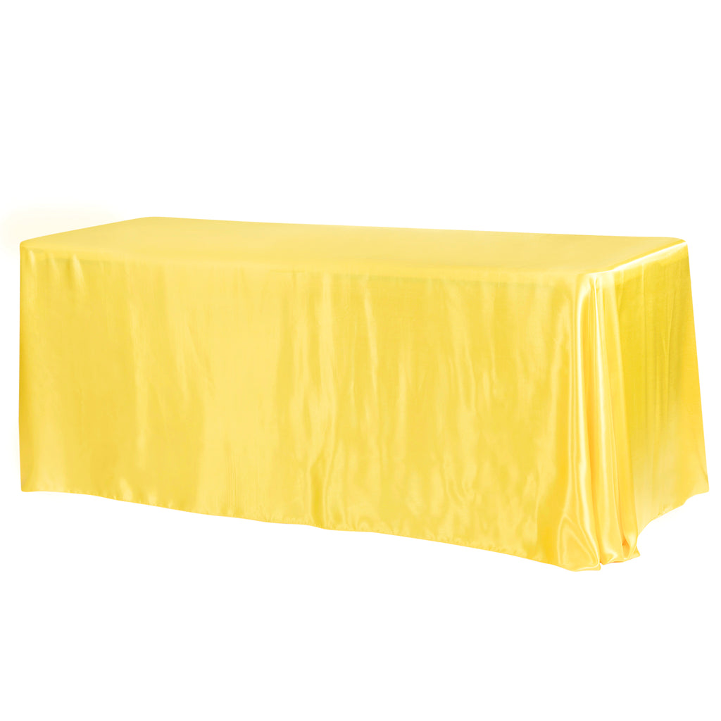 "Satin Rectangular 90""x132"" Tablecloth - Canary Yellow (Bright Yellow)"