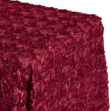 "Wedding Rosette Satin 90""x156"" rectangular Tablecloth - Burgundy"