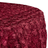 "Wedding Rosette SATIN 120"" Round Tablecloth - Burgundy"