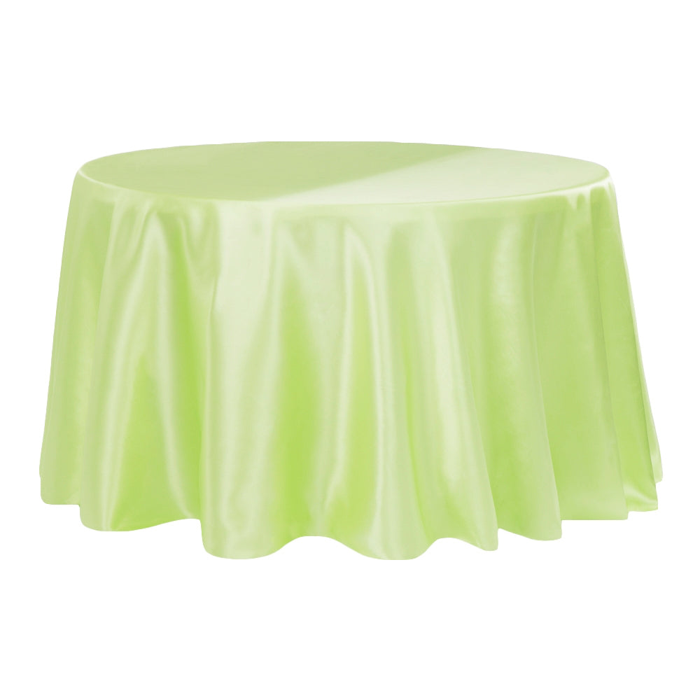 "Satin 120"" Round Tablecloth - Apple Green"