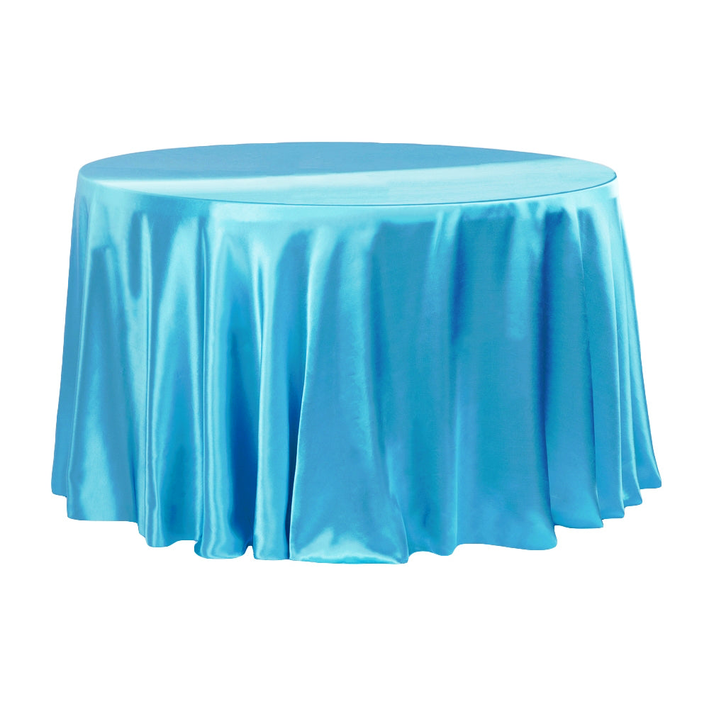 "Satin 132"" Round Tablecloth - Aqua Blue"