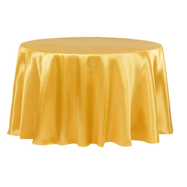 "Satin 132"" Round Tablecloth - Bright Gold"