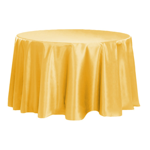 Satin 120 Quot Round Tablecloth Canary Yellow Bright Yellow