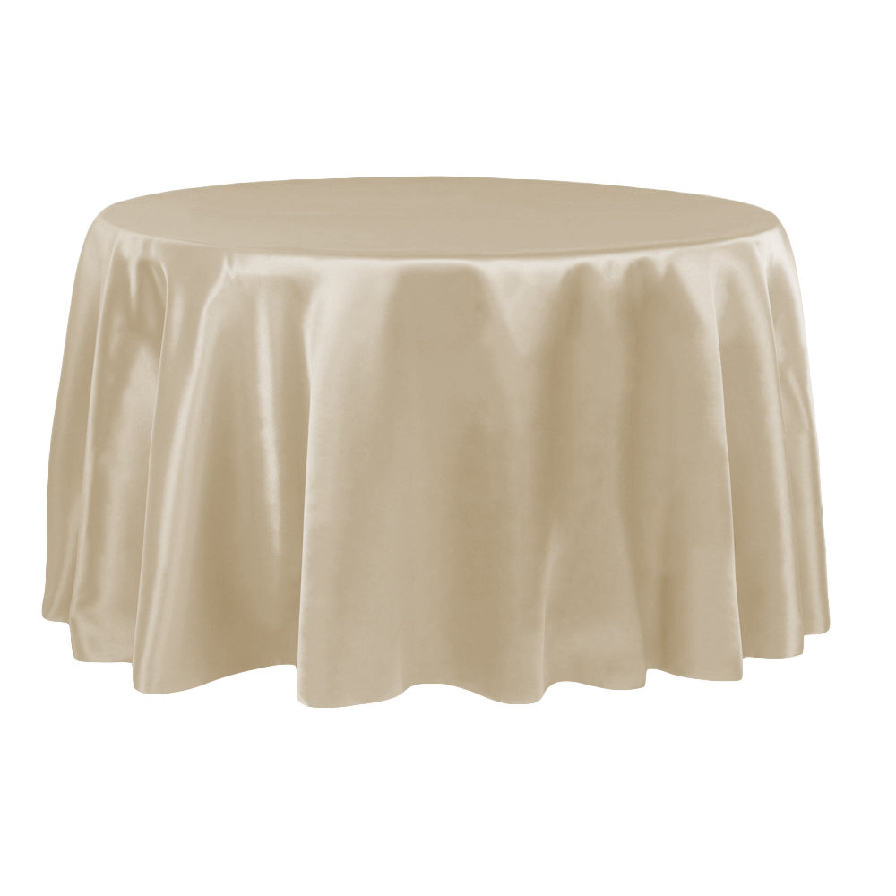"Satin 132"" Round Tablecloth - Champagne"