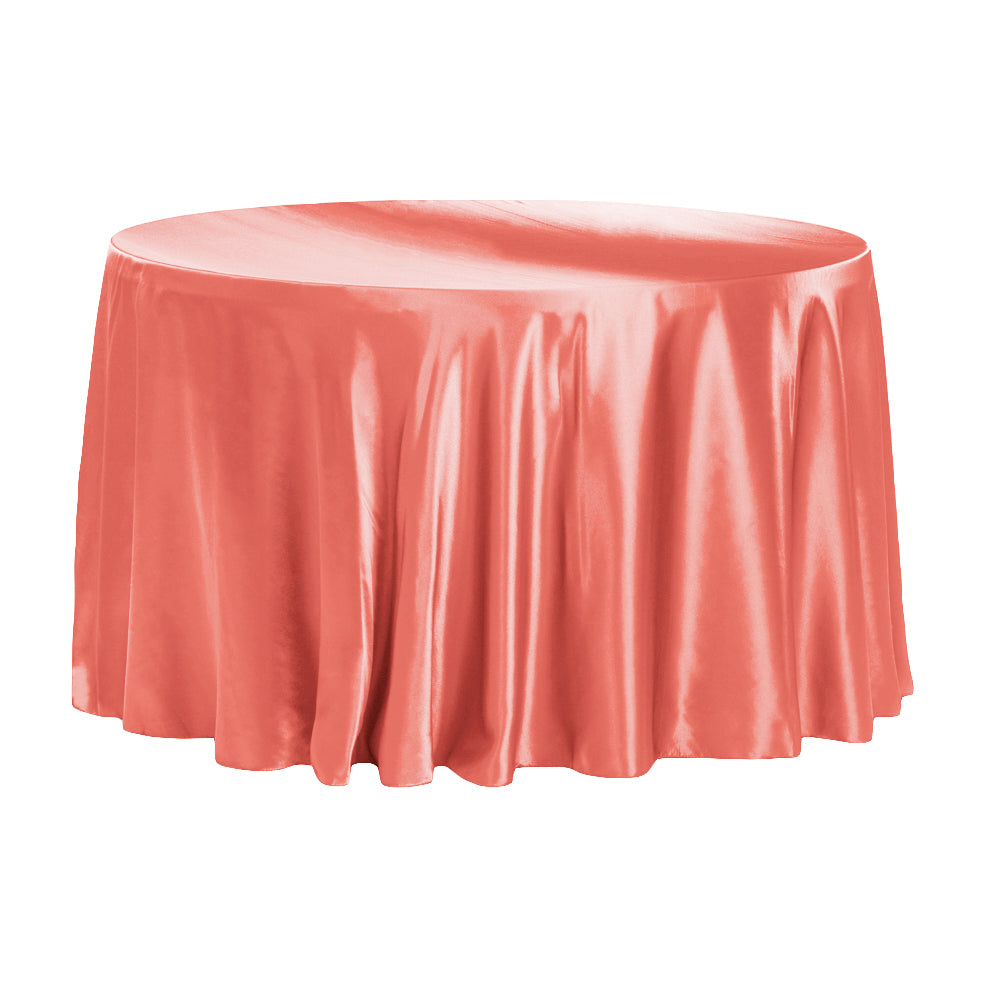 "Satin 120"" Round Tablecloth - Coral"