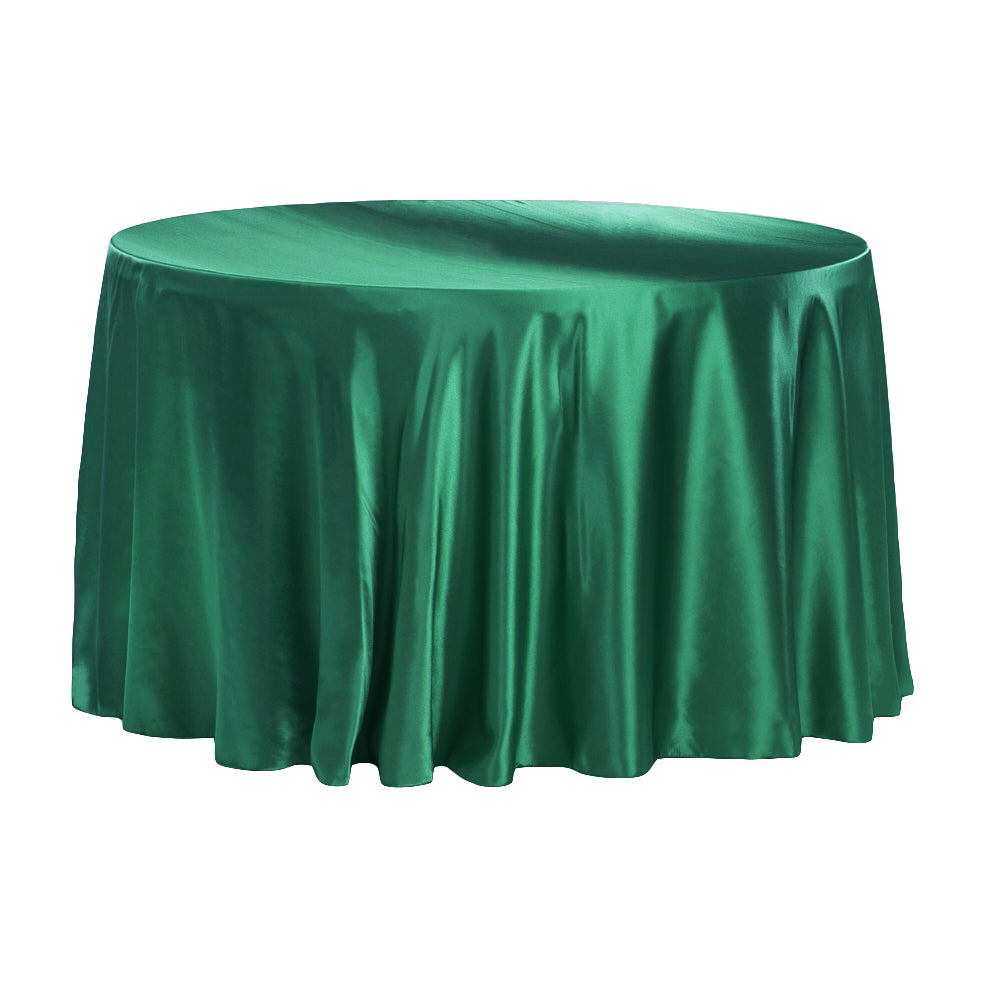 "Satin 132"" Round Tablecloth - Emerald Green"