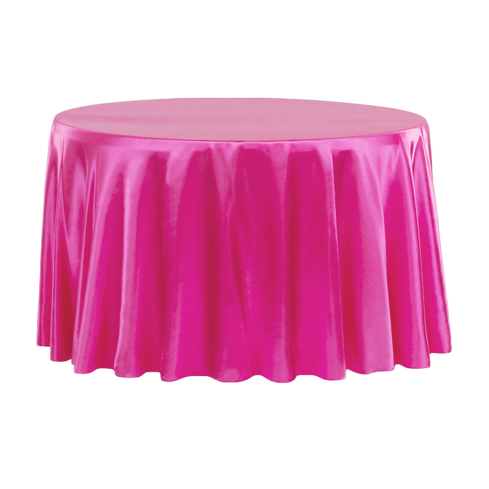 "Satin 120"" Round Tablecloth - Fuchsia"