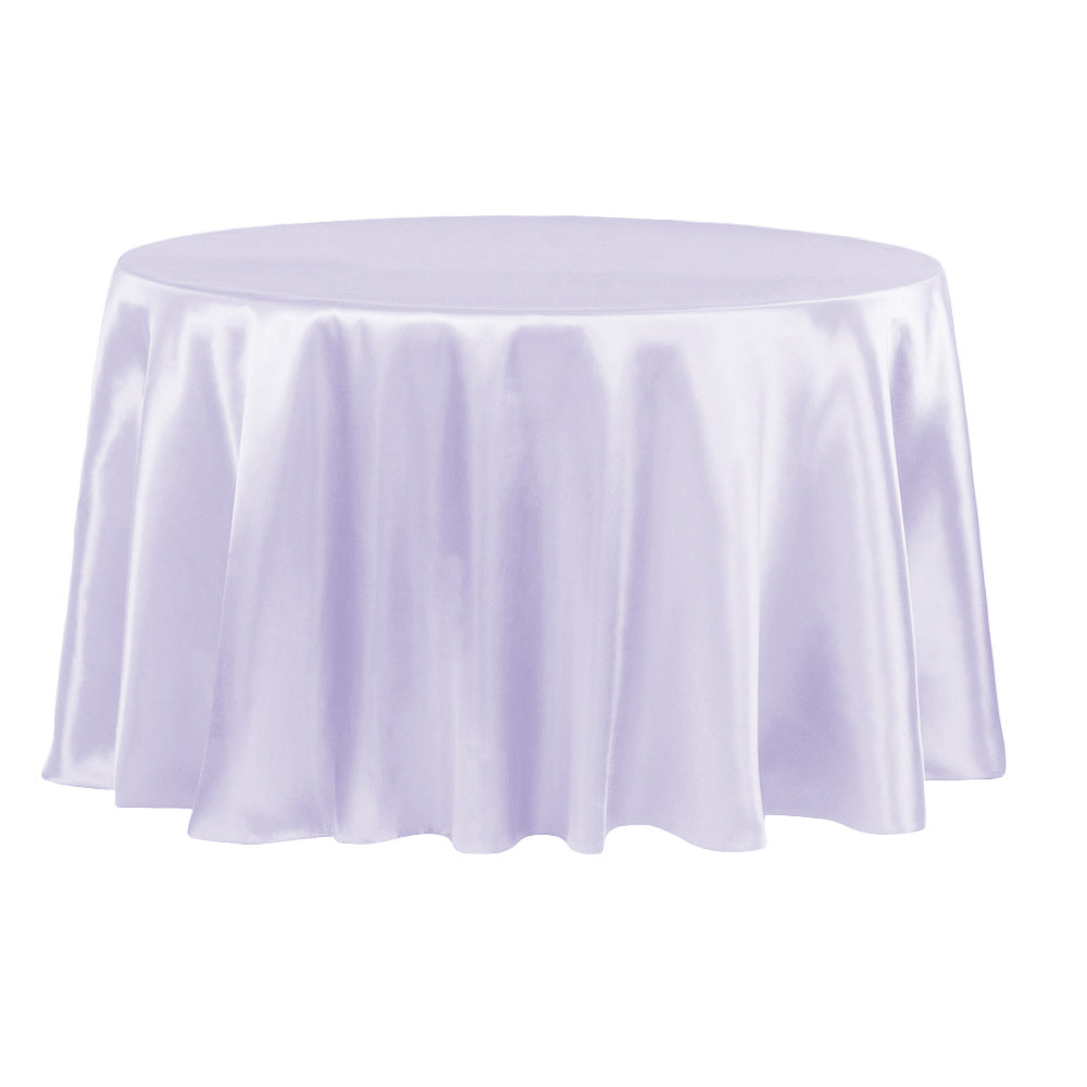 "Satin 132"" Round Tablecloth - Lavender"