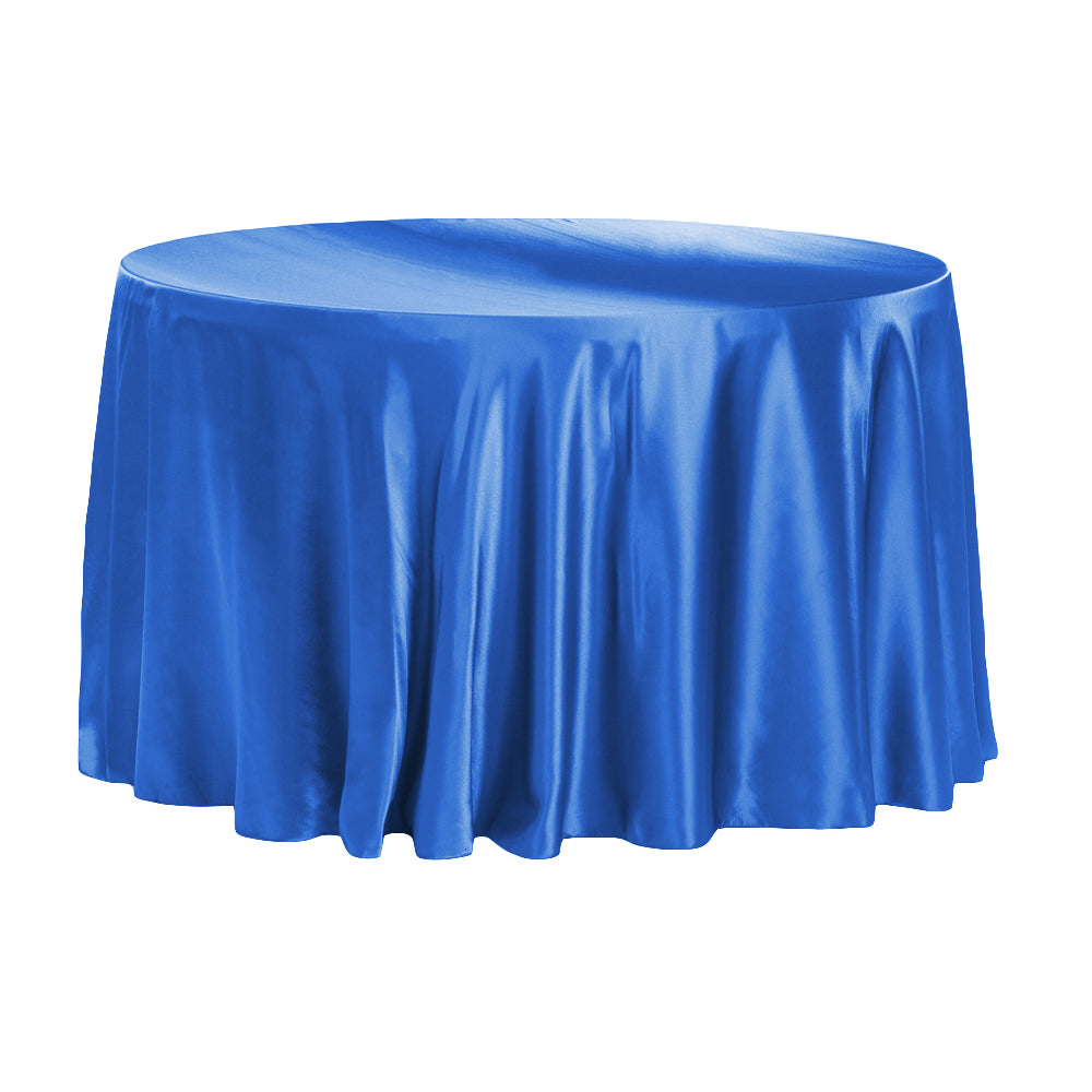 "Satin 132"" Round Tablecloth - Royal Blue"