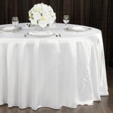 "Satin 108"" Round Tablecloth - White"