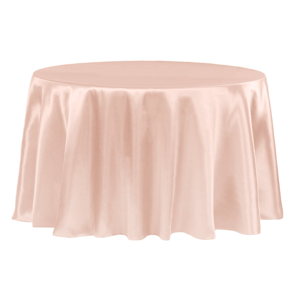 "Satin 132"" Round Tablecloth - Blush/Rose Gold"
