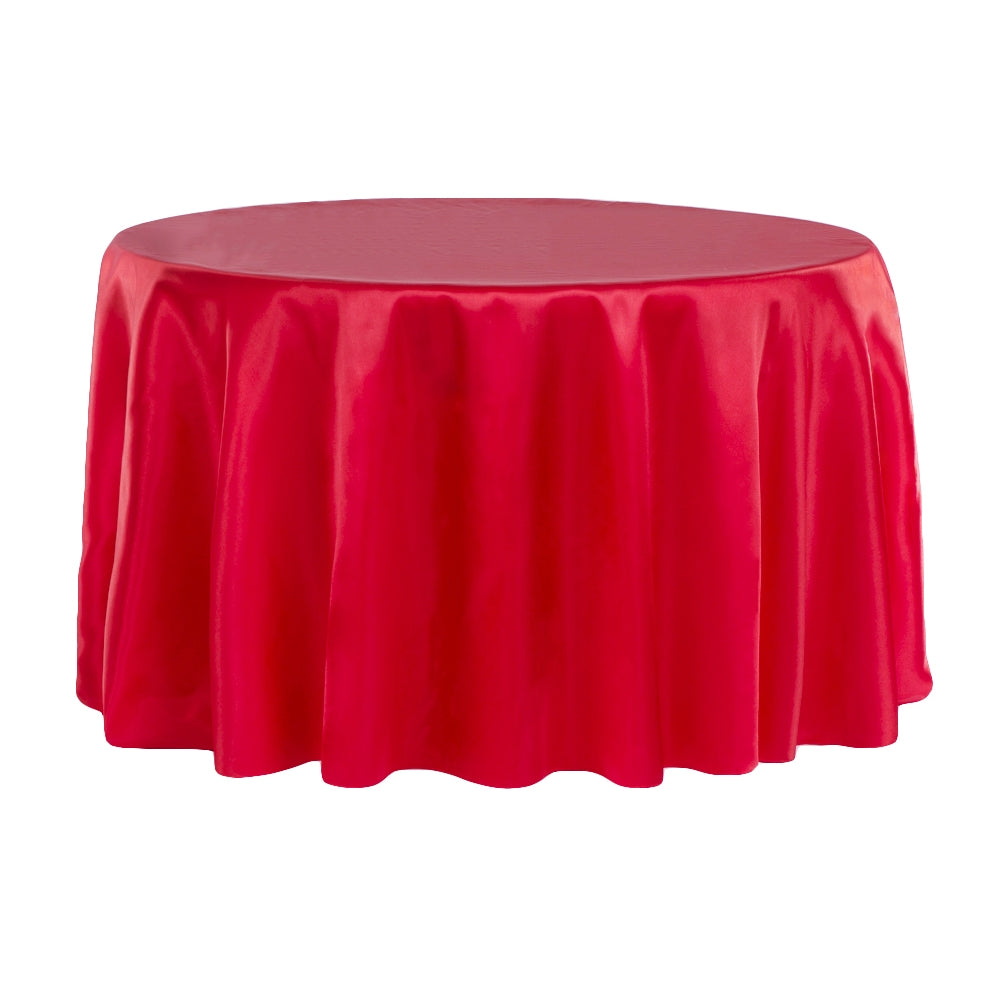 "Satin 108"" Round Tablecloth - Red"