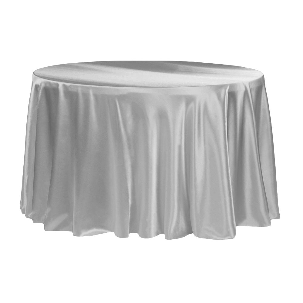 "Satin 132"" Round Tablecloth - Silver"