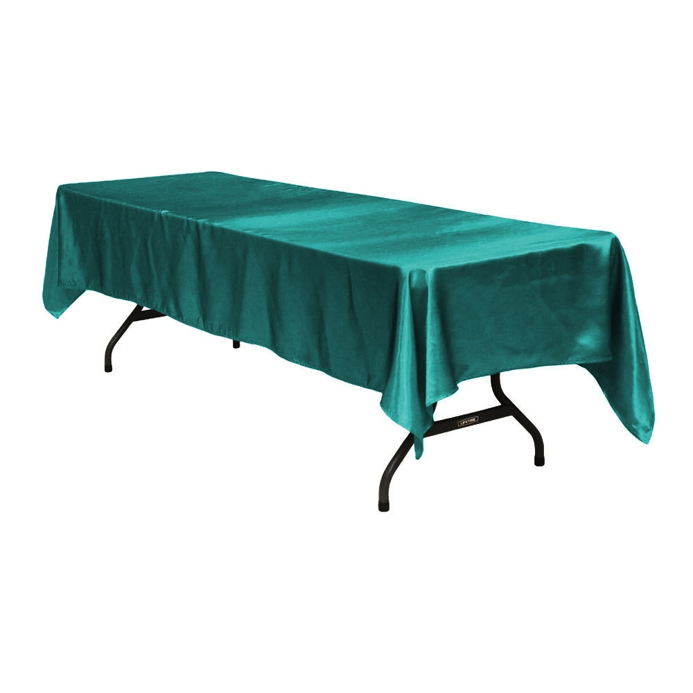 "Satin Rectangular 60""x120"" Tablecloth - Dark Turquoise"