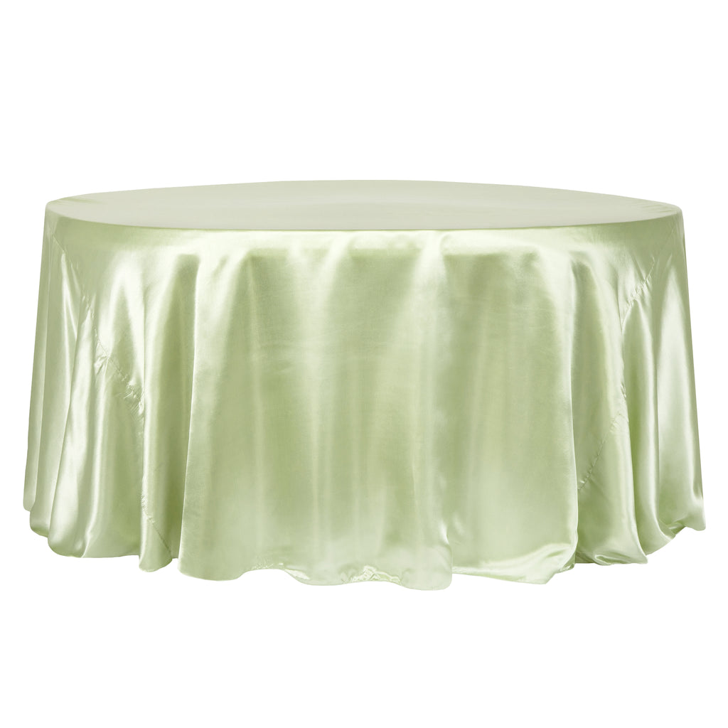 "Satin 108"" Round Tablecloth - Sage Green"