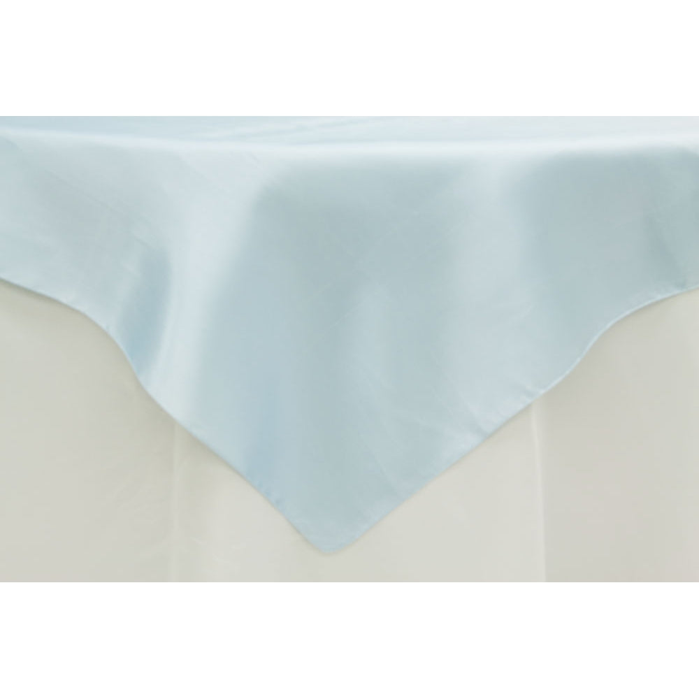 "Square 72"" Satin Table Overlay - Baby Blue"