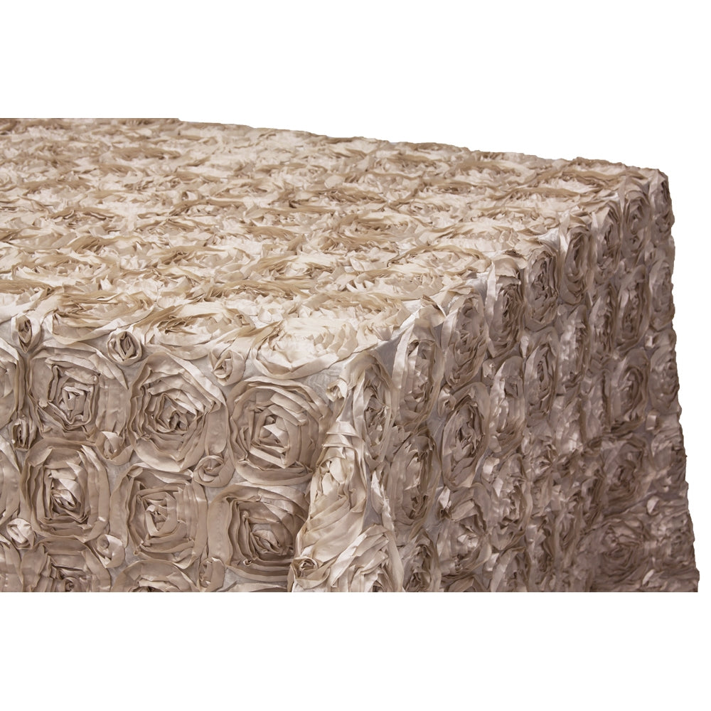 "Wedding Rosette Satin 90""x132"" rectangular Tablecloth - Champagne"