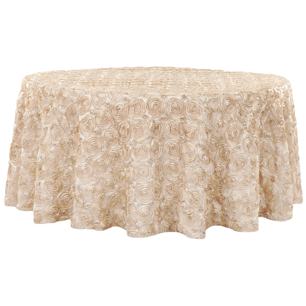 "Wedding Rosette SATIN 132"" Round Tablecloth - Champagne"