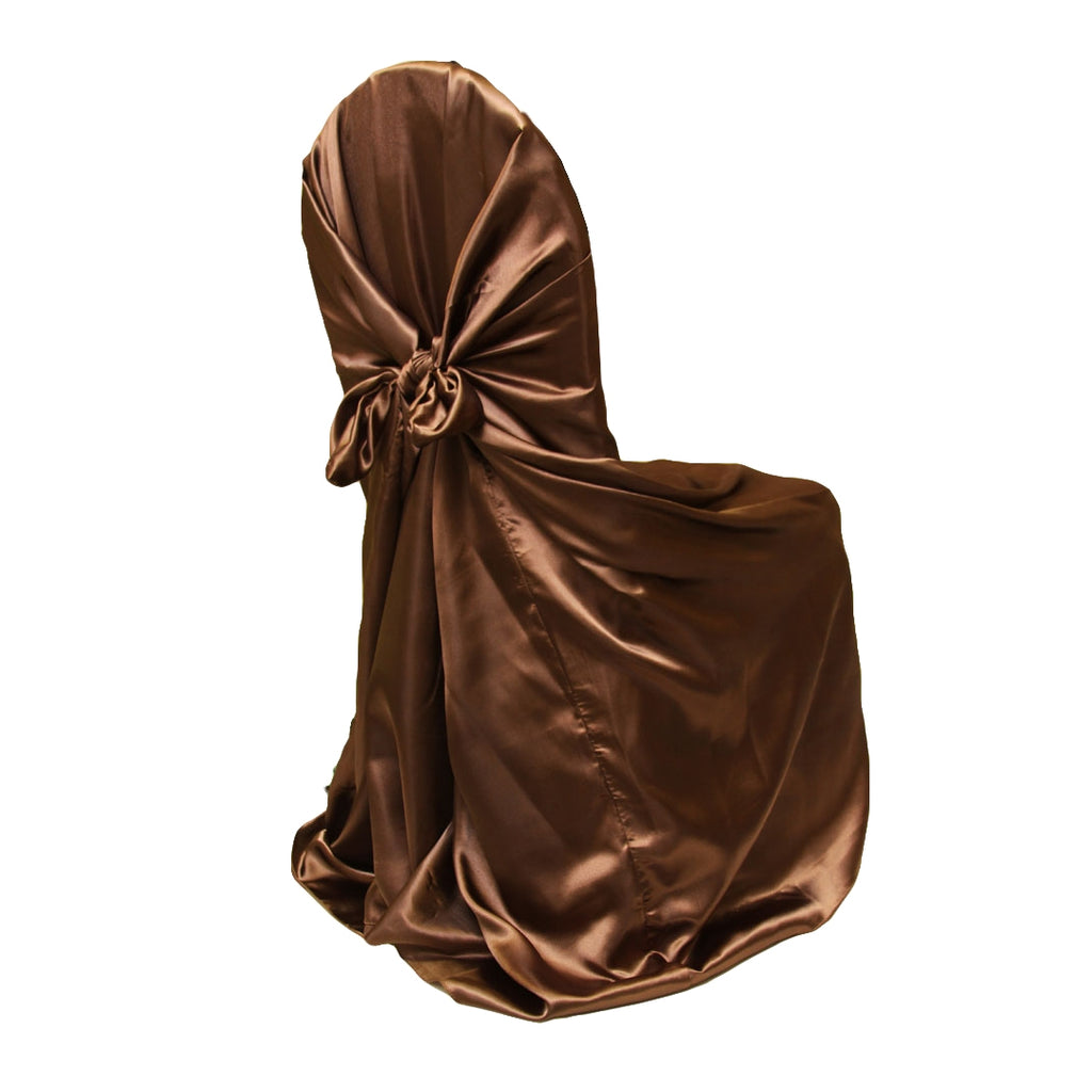 Universal Satin Self Tie Chair Cover - Chocolate Brown
